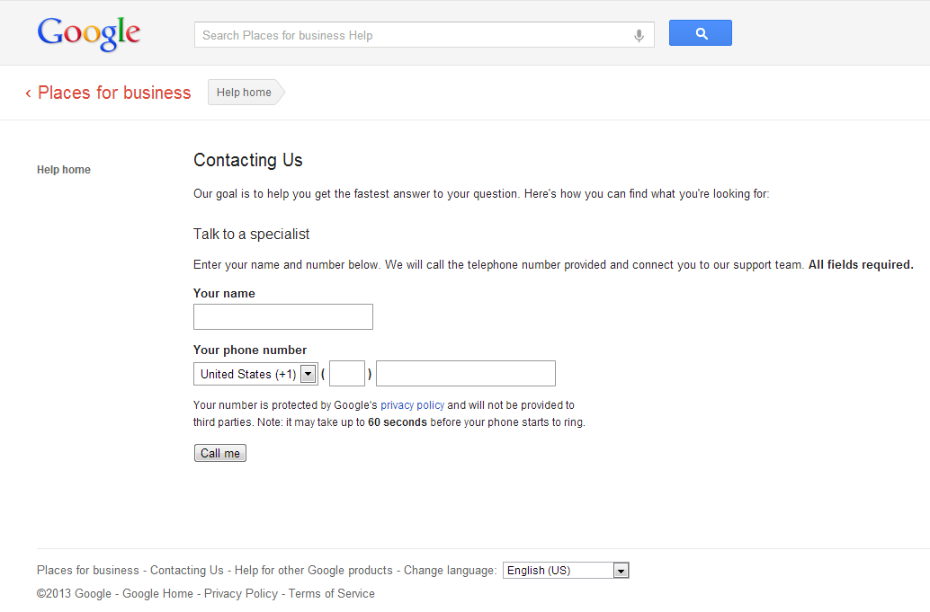 Contacting Google Support