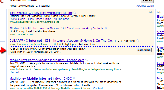 Google View Offer Button
